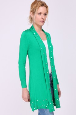 Long vest with pearls