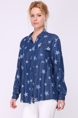 Star printed jeans shirt