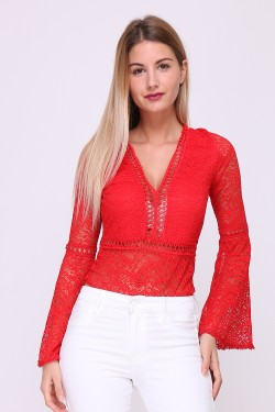 Embroidered bodysuit with bare back and flared sleeves