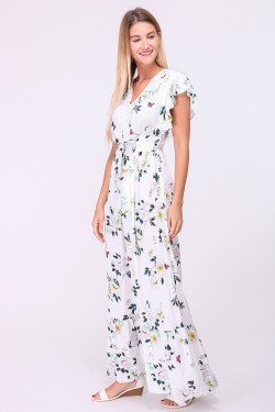 V-neck printed long dress with lace trim and tie belt