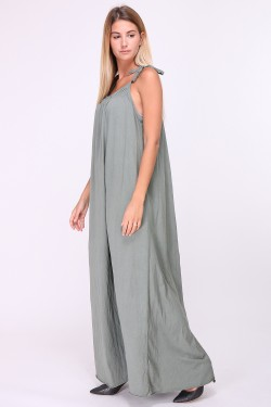Cotton long dress with tie straps