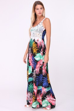 Long printed cotton dress with embroidered bust