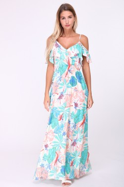 Printed cotton long dress with ruffles