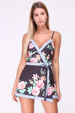 Printed wallet jumpsuit with skirt effect