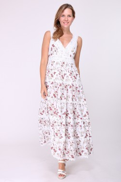 Long cotton dress printed and embroidered on bust and skirt