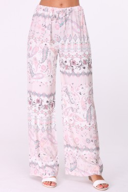 Printed loose trousers with elastic waist