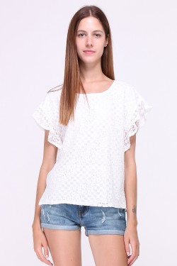 Embroidered cotton top and ruffled sleeves