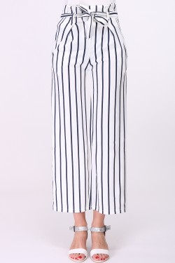 Striped printed loose trousers