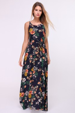 Printed long dress with tie belt