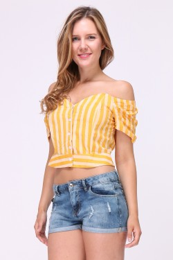 Striped cropped top with buttonholes and bare shoulders