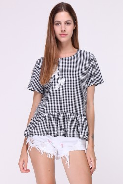 Vichy print cotton top with embroidery