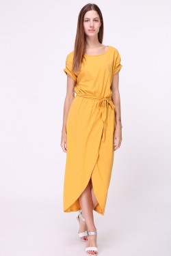 Long cotton dress with tie belt and slit