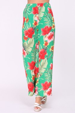 Loose printed pants with elastic waist