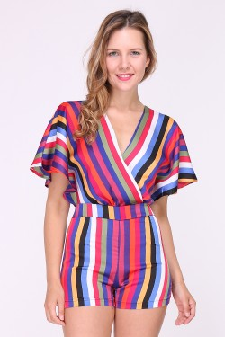 Striped printed playsuit with bare back