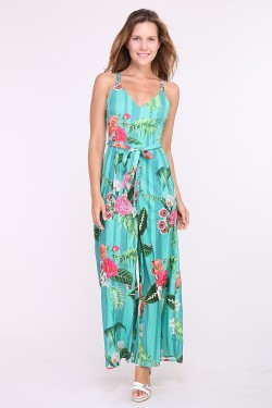 Printed jumpsuit with fluid pants with belt and crossed backless