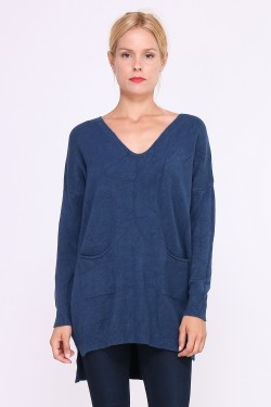 Tunic with cashmere in fine knit and two pockets