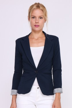 Fluid and slim cotton jacket with striped print linening