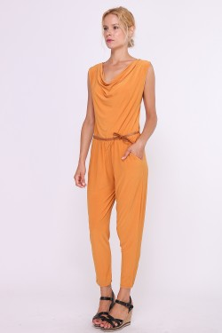 Cowl neck jumpsuit and with tie belt