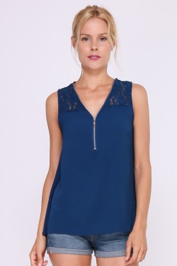Top decorated with lace on shoulders and upper back and bust zip