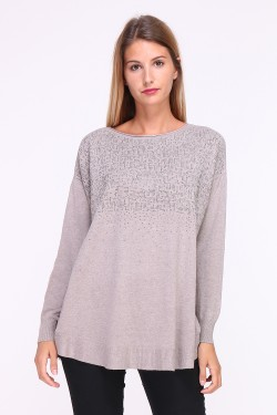 Sweater with wool and cashmere adorned with metallic rhinestones