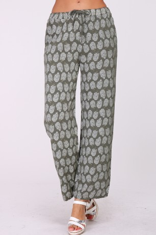 Palazzo printed cotton trousers with drawstring