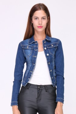 Jeans jacket in cotton with pockets