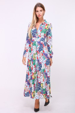 Printed long dress with buttonhole