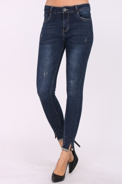 Slim jeans in low cotton with rhinestones