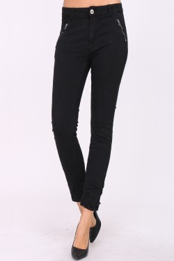 Cotton slim jeans with zips