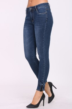 Cotton slim jeans with ribbon at the bottom