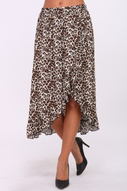 Long cotton skirt with ruffles and elastic waistband