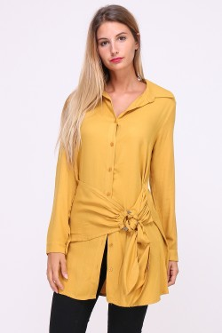 Asymmetrical long loose shirt and wide toe