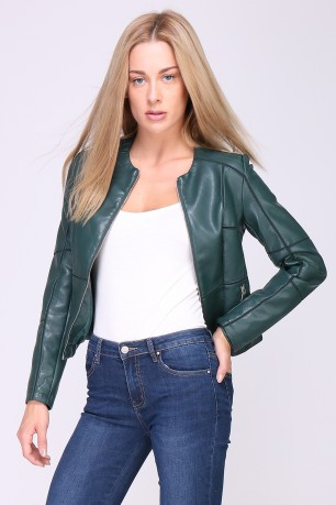 Faux leather imitation jacket with exposed seam