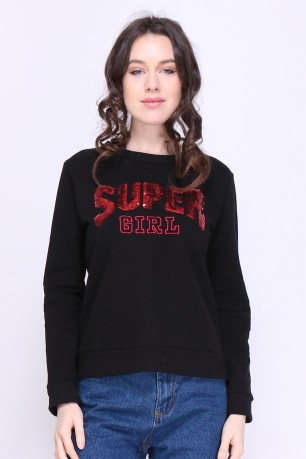 "Sweat ""super girl"" en coton"