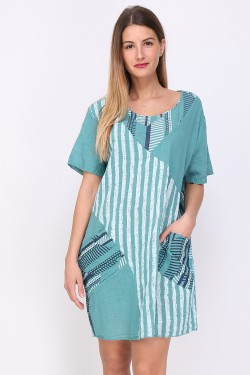 Robe tunique patch poche en coton