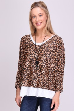 Blouse de top brillant avec collier