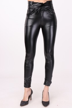 Trouser height-waisted simili leather