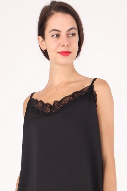 Satin and lace camisole with adjustable straps