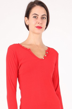 Top ml v-necked boutons colure lace