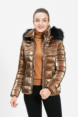 Short metallic puffer jacket with removable hood and fur