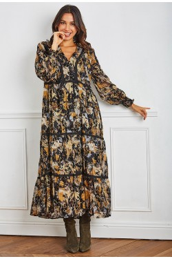 Maxi robe long  printed fleuri effet embroidery with lace boutonnée devant