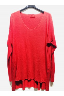 pull col v manche longue matiere doux