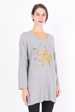 Soft sweater tunic with star print