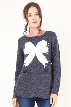 Jumper with noeud et perles  wool mixed