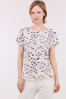 Printed top with tulip sleeves