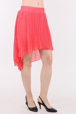 Asymmetric pleated sun skirt