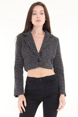 Blazer crop tweed