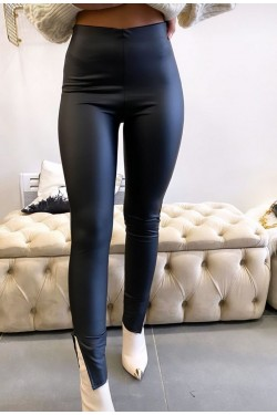 LEGGINGS SIMILICUIR FENDU COTE