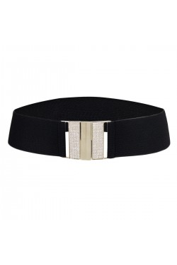 Wide elastic belt for women strass buckle