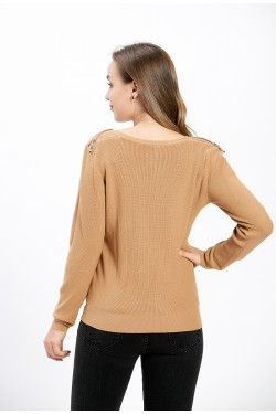 PULL DOUX COL V BOUTON